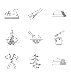 Sawing icons set outline style vector