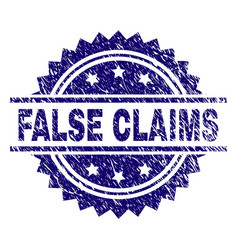 Scratched textured false claims stamp seal vector