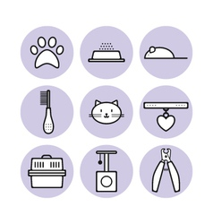 Set for pet store symbols icons vector image