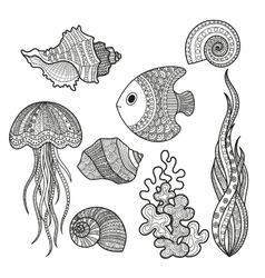 set of marine life fish vector image