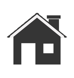 Silhouette with monochrome house and fireplace vector