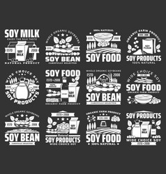 Soybean food icons soy milk tofu oil sauce vector