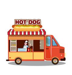 street food truck van fast food delivery fast vector image