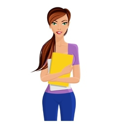 Student girl holding folder vector