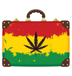 Suitcase with rasta flag pattern vector