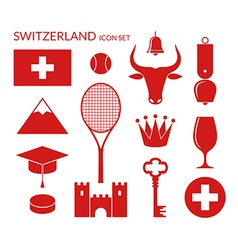 Switzerland Icon set vector image