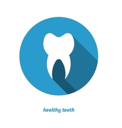 Tooth in circle flat style icon long shadow vector image
