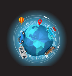 Travel around the earth vector