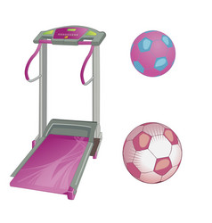Treadmill and soccer balls flat style vector
