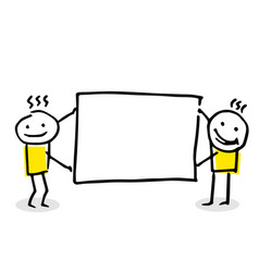 two stick figures holding a blank board vector image