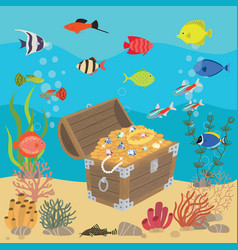 undersea world with opened wooden chest with vector image