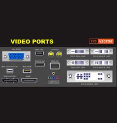 video universal connector symbols vector image