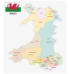 Wales administrative and political map with flag vector