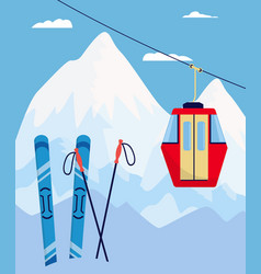 Winter ski resort poster with skiing equipment and vector