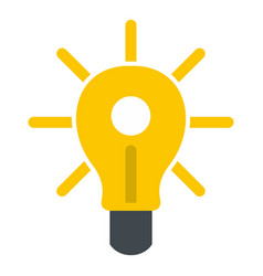 Yellow glowing light bulb icon isolated vector