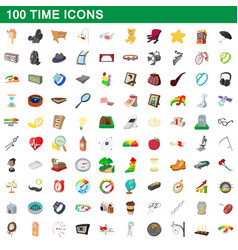 100 time icons set cartoon style vector image vector image