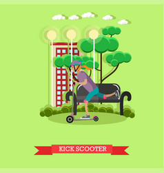 a girl riding kick scooter vector image