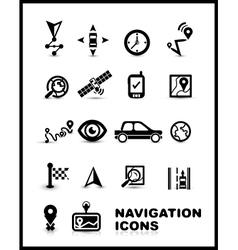 Black navigation icon set vector image vector image