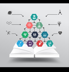 Book with chemistry and science icon vector