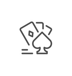 card games line icon vector image vector image