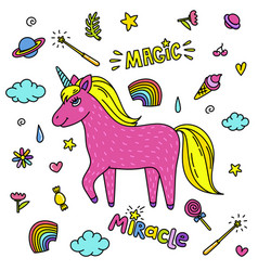 cute handdrawn unicorn pink unicorn and magic vector image vector image