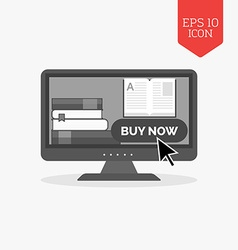 E-book buying concept icon Flat design gray color vector image