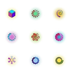 Loading and waiting icons set pop-art style vector image
