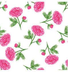 seamless floral pattern with of watercolor peony vector image vector image