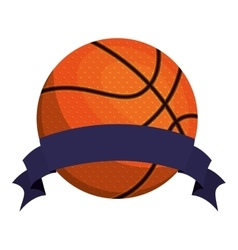 silhouette color with basketball ball and ribbon vector image vector image