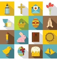 Easter items icons set flat style vector image
