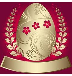 gold elegance easter red frame vector image