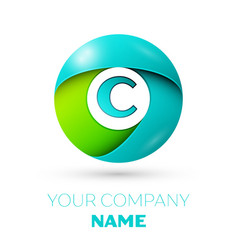 realistic letter c logo in colorful circle vector image