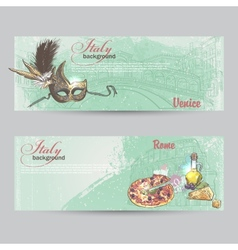 Set of horizontal banners of Italy Cities of Rome vector image vector image