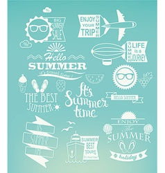 Summer holidays design elements on blue background vector image vector image