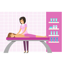 young woman having a massage in a wellness studio vector image