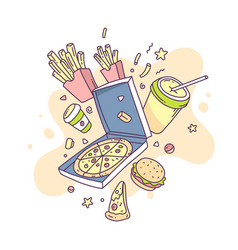 colorful of fastfood pizza french fries coffee vector image