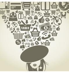 Girl shop vector image vector image