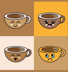 kawaii faces coffee cup icon vector image