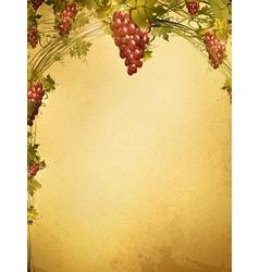 Red grape vine frame vector