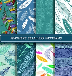 Set of blue white abstract ethnic bird feather vector image