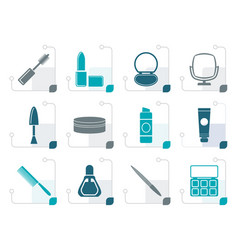 stylized cosmetic and make up icons vector image