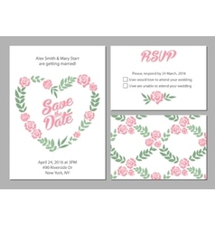 Wedding invitation card suite with daisy flower vector image vector image