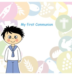 Boy First Communion Invitation vector image vector image