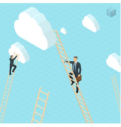 businessmen ladder climbing to the clouds vector image vector image