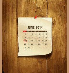 Calendar June 2014 vector image vector image
