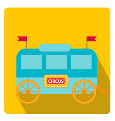 circus trailer wagon icon flat style with long vector image