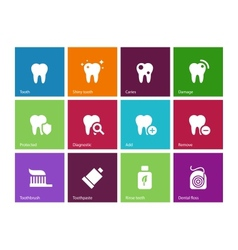 Tooth teeth icons on color background vector image vector image