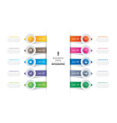 10 circle tab step infographic with abstract vector