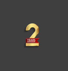 2 years anniversary simple design with golden vector