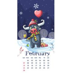 2021 calendar february funny cartoon bull vector
